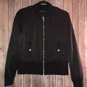 Zara Basic Black Satin Bomber Jacket